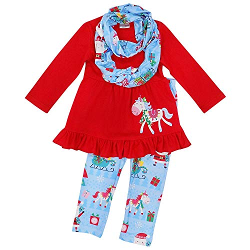So Sydney Toddler Girls 3 Pc Winter Christmas Holiday Ruffle Tunic Outfit, Scarf (XS (2T), Merry Unicorn Blue)