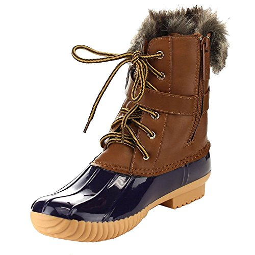 Nature Breeze Duck-01 Womens Chic Lace Up Buckled Duck Waterproof Snow Boots,Blue/Tan,6.5