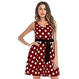 Women's Vintage Polka Dot Halter Dress 1950s Floral Sping Retro Rockabilly Cocktail Swing Tea Dresses (Red, L)