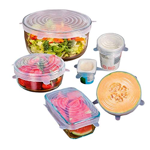 - Silicone Stretch Fresh-Keeping-Lids, 6-Pack Various Sizes Cover for Different Shapes of Containers Bowl Can Glassware, Food-Saver Lids Safe in Dishwasher Microwave Freezer