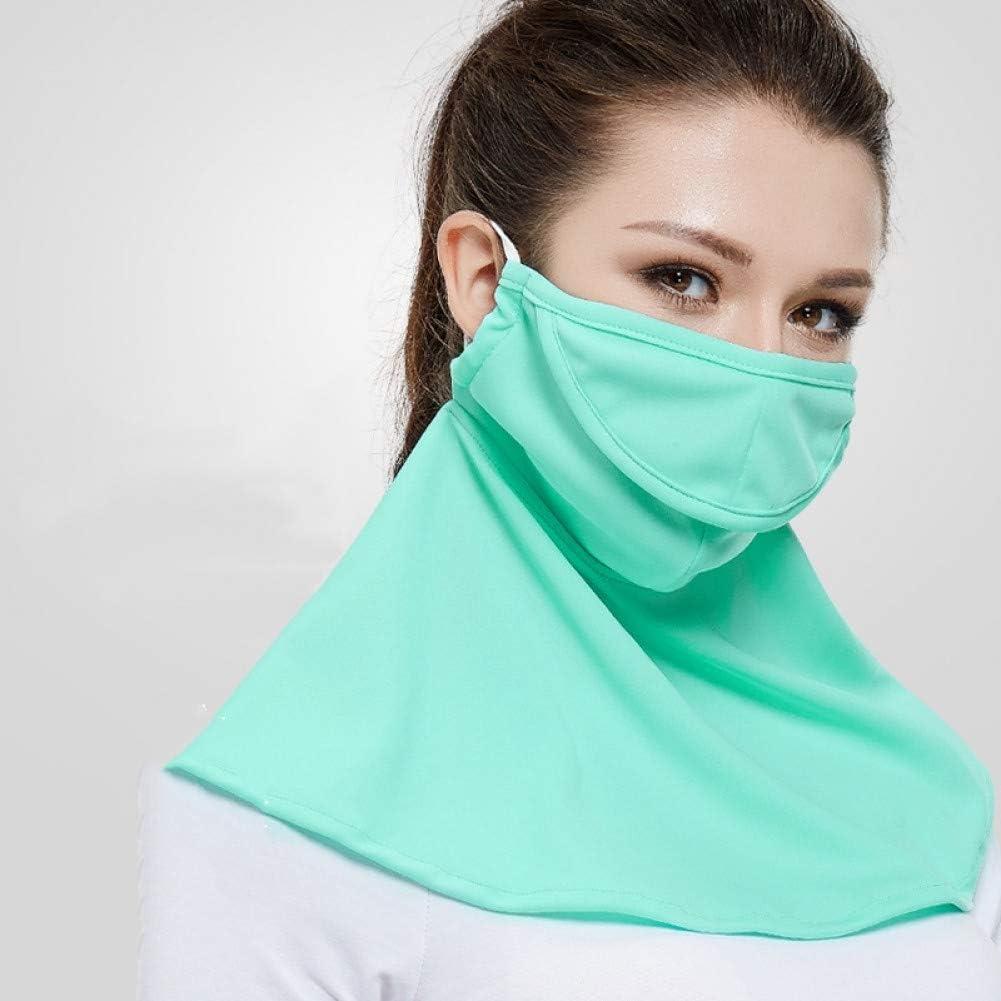 MKDASFD Mascaras Protector Solar Mascarilla Verde Femenino Transpirable a Prueba de Polvo Máscara Anti-Ultravioleta de Verano Sección Delgada Lavado y Ciclismo Conducción Protección de Cuello de Cara