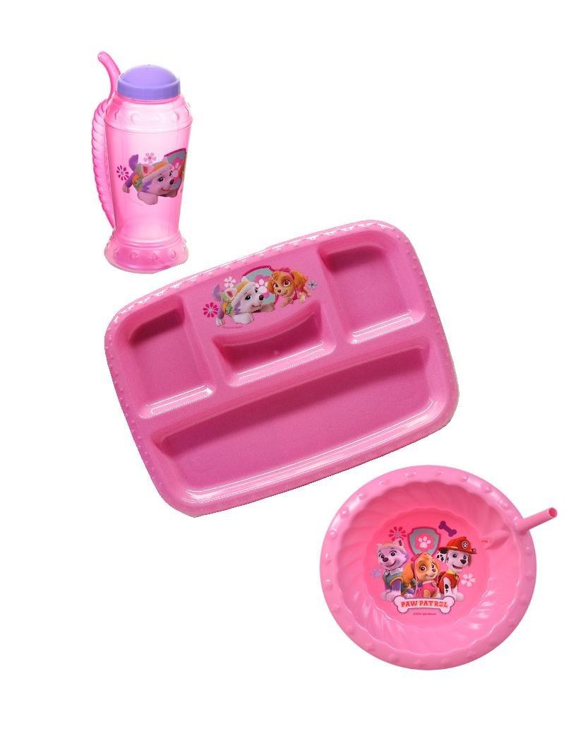 Pink Paw Patrol BPA Free Lunch Tray, Straw Bowl, and Plastic Sipper Straw 14.5oz Mug by Zak Designs Set