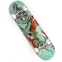 "OneHype - Pro Complete Skateboard Designer Board, 31"" x 8 inch Maple Wood Deck, Black Aluminum Trucks, ABEC 7 Bearings"