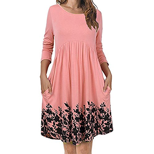 Dress! Gillberry Women's T Shirt Dress with Pockets Long Sleeve Floral Pleated Swing Dress (L, Pink)