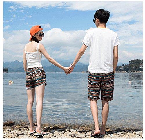 Hsumonre Beach Shorts Swim Trunks Summer Mens Floral Print Quick Dry Polyester Board Shorts Boho Couples Shorts Plus Size (TAG XXXL, Men Boho) by Hsumonre