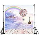 hot air balloon prop - OFILA Fantasy Backdrop 8x8ft Seamless Dreamy Castle Eiffel Tower Hot Air Balloons Rainbow Kids Birthday Theme Party Baby Shower Background Girls Tea Party Princess Children Toddler Photos Prop