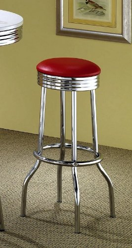 Cheap Cleveland Round Base Bar Stools Red and Chrome (Set of 2)