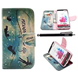 LG G3 Case, iYCK Premium PU Leather Flip Folio Carrying Magnetic Closure Protective Shell Wallet Case Cover for LG G3 with Kickstand Stand - Never Grow Up