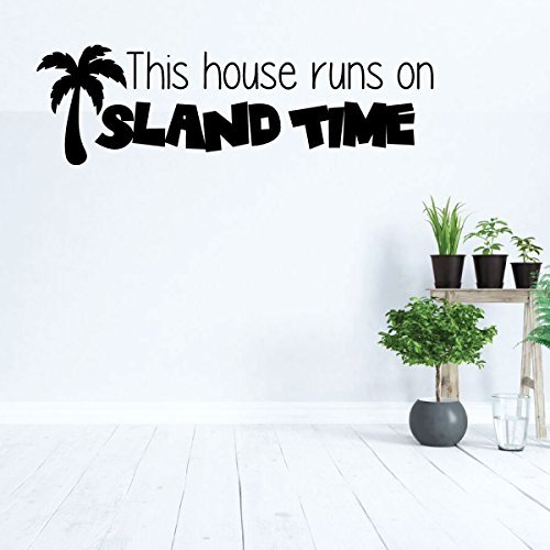 Palm Tree Wall Decal - This House Runs On Island Time - Hawaiian Decoration for Living, Dining, Family Room or Kitchen