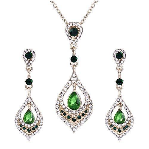 Chandelier Necklace Pendant (BriLove Women's Wedding Bridal Crystal Art Deco Teardrop Chandelier Pendant Necklace Dangle Earrings Set Emerald Color Gold-Tone)