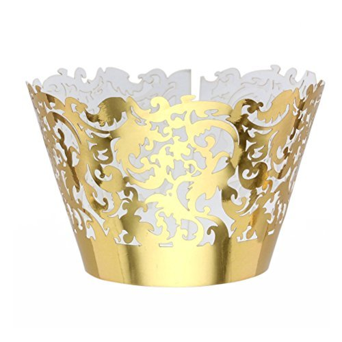 Tinksky Cupcake Wrappers Muffin Cup Case Trays for Wedding Party Birthday Decoration 50-Pack (Golden)