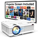"QKK 2020 Newest Mini Video Projector, 100"" Projector Screen Included, 1080P Supported 176"" Projection Size, Compatible with HDMI, VGA, AV, USB for Home Theater, Outdoor Activities and More"
