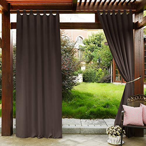 (PONY DANCE Patio Outdoor Curtain - Blackout Drapes Tab Top Thermal Insulated Home Decoration Curtains/Window Shades for Front Gazebo, 52 x 84 Inch, Brown, Set of 1)