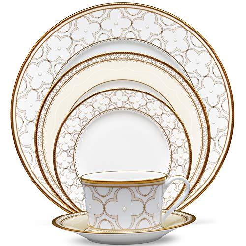 Noritake Trefolio Gold 5-Piece Place Dinnerware Setting in Cream/White