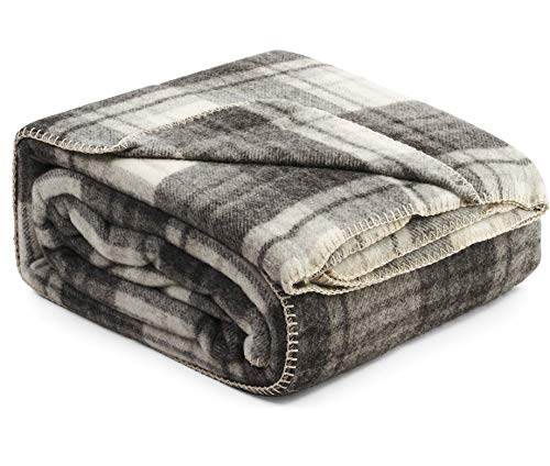 (Fluer Ares Luxury Wool Bed Blanket 90 by 90 Inch Queen Size Genuine Natural 100% Wool Blankets for The Bed Classic Tartan Pattern Grey Ivory Dark Gray)