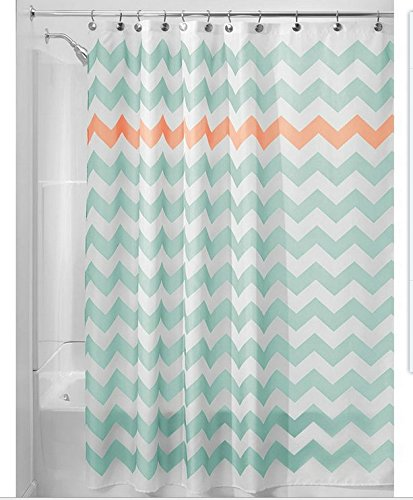 Get Orange Mint Green Wavy Stripe Waterproof Fabric Polyester Shower Curtain, 72 X 72-inch