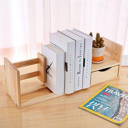 Desktop Bookshelves: Natural Unfinished Wood Desktop Bookshelf & Organizer