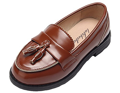Girls Pure Color decors Round Toe Loafer Flat School Performance Shoes (1 M Little Kid, Brown) by Vogana