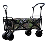 Nurth Wagon Cart with PU Wheel and Brake, 330 Lbs Capacity Outdoor Folding Utility Cart, Heavy Duty Wagon Rolling Cart, Removable Picnic Table, BBQ Carts for Beach, Garden, Camping Shopping CAMO