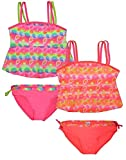 Real Love Girls' Tankini Bathing Suit Separates (2 Pack), Flowers, Size 6X'