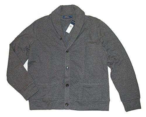 Polo Ralph Lauren Mens Jacquard Fleece Shawl Collar Cardigan Sweater Gray L