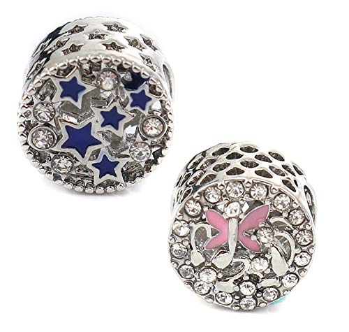 12mm Spacer Bead Charms, 6 Pack with 4.5-6mm Holes for European Bracelets (Set A, Stars and Butterfly)