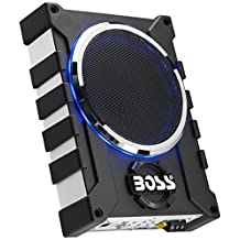 "BOSS BASS1000 Audio 8"" Amplified Subwoofer with Passive Radiator, Single, Black"