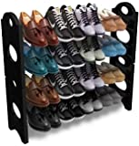 RMA HANDICRAFTS Plastic Rod Shoe Rack (Standard, Black)