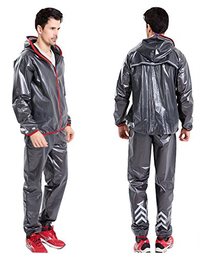 INBIKE Men and Women's Super Light Outdoor Waterproof Cycling Raincoat With Hoods, Unisex Portable Cycling Rain Suit, Jacket And Pant set, Dark Gray, - Cycling With Hood Jacket