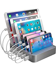 Hercules Tuff Charging Station Organizer for Multiple Devices - 6 Short Mixed Cables Included for Cell Phones, Smart Phones, Tablets, and Other Electronics…