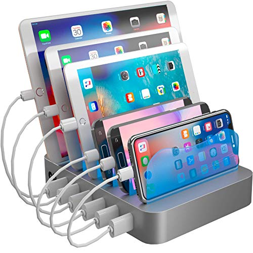 Hercules Tuff Charging Station Organizer for Multiple Devices - 6 Short Mixed Cables Included for Cell Phones
