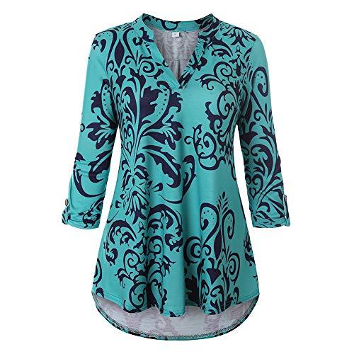 pliss Asymtrique Cocohot Fleur Tunique Chemises V Lache Shirt Imprim Col Vert Manches Blouse Longue Femme Longues wgHIvqgO