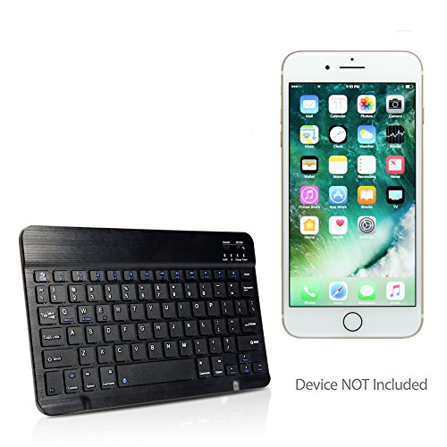 Apple iPhone 7 Plus Keyboard, BoxWave [SlimKeys Bluetooth Keyboard] Portable Keyboard with Integrated Commands for Apple iPhone 7 Plus - Jet Black by BoxWave