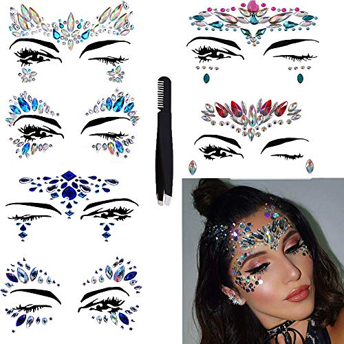 Face Jewels Glitter Temporary Tattoo With Tweezers Tool,6 Sets Body Rhinestone Jewelry Stickers Crystal Mermaid Eyes Tears Gems Stones For Festival Party Women ()