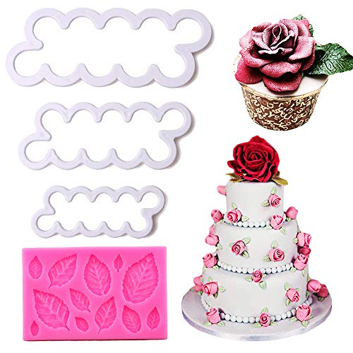 (Palksky Rose Cake Decoration Tools Set - Rose Flowers Cookies Cutters and Leaves Fondant Molds for Sugarcraft Cake Decoration Wedding Birthday Baby Shower Party Cupcake Topper Decor (Set of 4))