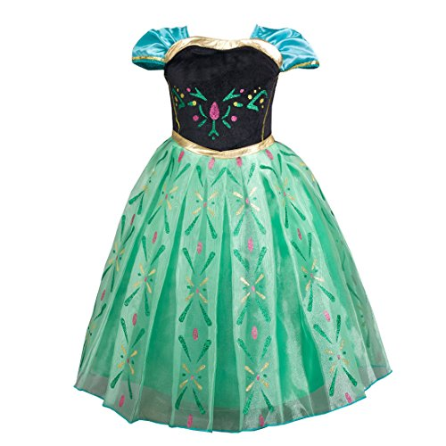 Girl's Short Sleeve Princess Dress up Halloween Christmas Cosplay Costume Fancy Party Summer Dress 5-6 years old (Nightgown Order)