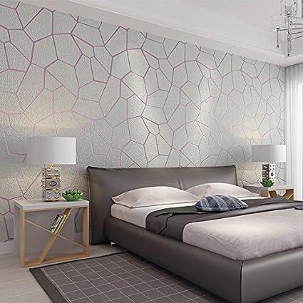 Wapel Modern Minimalist Anaglyph Bedroom Living Room Study Tv Background Wallpaper Light Grey Amazon Co Uk Kitchen Home