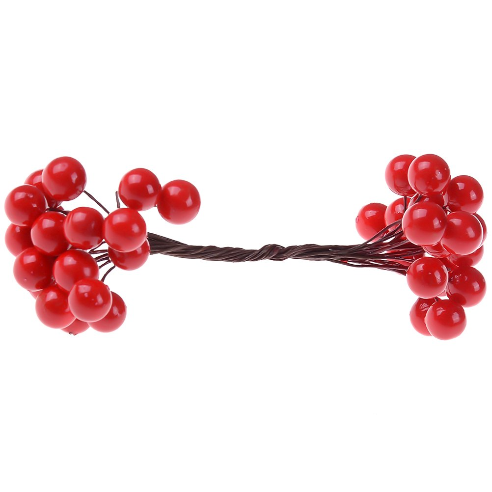 Jiabetterniu 200Pcs Elliptical Artificial Holly Berries Red Fruit Berry Holly Stamens on Wired Stems for DIY Garland Christmas Tree Home Wedding Party Decor Craft, Red Bamboo flower