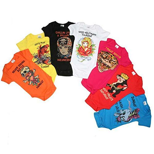 Ed Hardy Baby Girls 7 Days of the Week Onesie One Piece 7 Pc Set *Free Priority* (0/3 MONTHS) Ed Hardy Baby Clothes