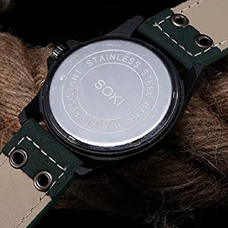Amazon.com: Lookatool Vintage Classic Mens Waterproof Date Leather Strap Sport Quartz Army Watch: Lookatool: Watches