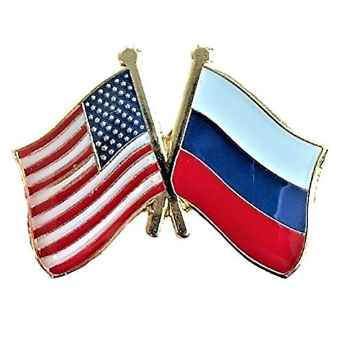 - Backwoods Barnaby USA-Russia Friendship Pin/American Russian Crossed Flags Broach