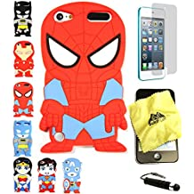 Bukit Cell 3D Superhero Bundle: Spiderman Cute Justice League Cartoon Soft Silicone Case for Ipod Touch 6 6th Generation / 5 5th Generation + Cleaning Cloth + Screen Protector + Stylus Pen