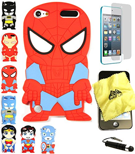 Bukit Cell 3D Superhero Bundle: Spiderman Cute Justice League Cartoon Soft Silicone Case for Ipod Touch 6 6th Generation / 5 5th Generation + Cleaning Cloth + Screen Protector + Stylus Pen (Ipod Touch Superhero Cases)