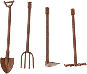 Prettyia Dollhouse Miniature Shovel, Hoe and Pitchfork Farming Tools Fairy Garden Accessories