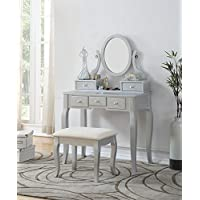 Roundhill Furniture 3418SL Ashley Silver Wood Makeup...