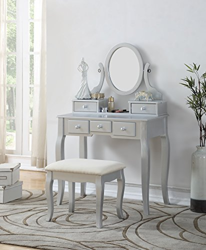 Roundhill Furniture 3418SL Ashley Silver Wood Makeup Vanity Table and Stool Set, Sliver Grey Vanity