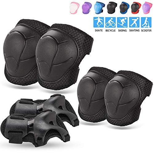 BOSONER Kids/Youth Knee Pad Elbow Pads Guards Protective Gear Set for Rollerblade Roller Skates Cycling BMX Bike Skateboard Inline Skatings Scooter Riding Sports (Black) (Rollerblading Accessories)