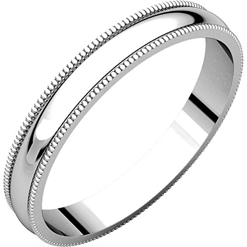 Men's and Women's Platinum, 3mm Wide, Milgrain, Plain Wedding Band - Size 14.5 ()