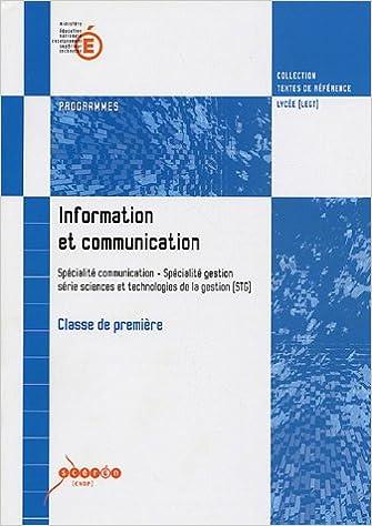 En ligne Information et communication 1e STG : Programmes pdf, epub ebook