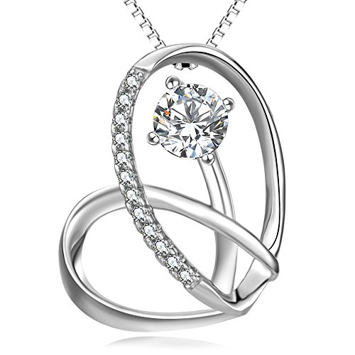 Angel caller Silver Jewelry Gift 925 Sterling Silver You Are The Only One in My Heart Eternal Love Heart Necklace 18'' for Women Girls by Angel caller